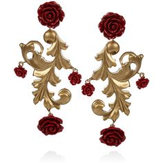 Dolce & Gabbana Gold-plated rose clip earrings ($495) ❤ liked on Polyvore featuring jewelry, earrings, accessories, brincos, red, rose gold plated earrings, gold plated earrings, red clip earrings, red rose jewelry and red rose earrings