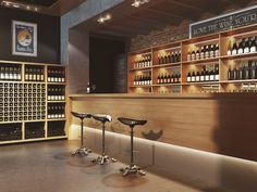"""""""Wine store"""" by Viarde. Tienda de vinos barra iluminada de degustación"""