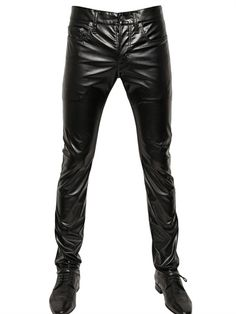 $750, Saint Laurent 175cm Stretch Faux Leather Jeans. Sold by LUISAVIAROMA. Click for more info: https://lookastic.com/men/shop_items/102955/redirect