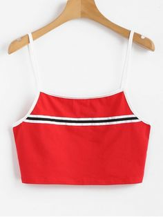 Just add some sports elements to this minimal cami tank top with a patch of striped ribbon. A contrasting piped trim enhances the visual effect to this tank top. The cropped fit make it a good match to go with some high waisted jeans to complete a look to shine yourself. #Zaful #Clothing #Tops