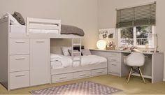 Dormitorios juveniles con camas tren nos ofrecen acoplar dos o tres camas,armario o cajones
