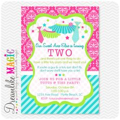 Brooke's 2nd Birthday invite   Printable Party Invitation-Tutus and Ties Party Theme. $15.00, via Etsy.