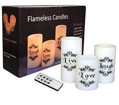 EGI - Set of 3 Flickering Flameless Candles with Multi Color Remote Control and Timer - Romantic Led Candles - with Live, Love, Laugh Decal - Made with Real Wax Flameless Candles With Remote, Led Candles, Decal, Wax, Romantic, Amazon Products, Live, Image Link, Gifts