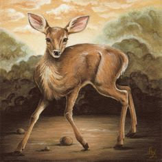 Giclee Print of Original Fawn Wood Panel by TheFittingPiece, $20.00