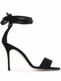 Manolo Blahnik Sandali Con Cinturino Alla Caviglia - Farfetch Manolo Blahnik, Black Sandals, Leather Sandals, Open Toe, Ankle Strap, High Heels, Women Wear, Black Leather, Fashion Design
