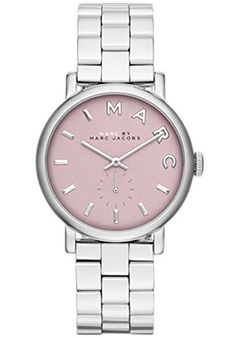 Marc Jacobs Women's Baker Silver-Tone Stainless Steel Pink Dial >>> Quickly view this special  product, click the image