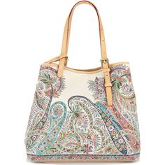 Etro Paisley Print Tote Bag (73,245 INR) ❤ liked on Polyvore featuring bags, handbags, tote bags, paisley tote, white tote bag, paisley purse, etro and tote bag purse