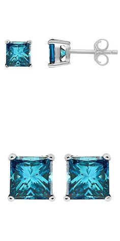 Other Wedding Jewelry 164311: 14K White Gold Square Princess Cut Blue Diamond Stud Earrings 1 2 Ct -> BUY IT NOW ONLY: $254.54 on eBay!