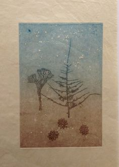Untitled (By starlight): Monoprint shadow on Japanese rice paper. Image size 12.5cm x 19cm. SOLD