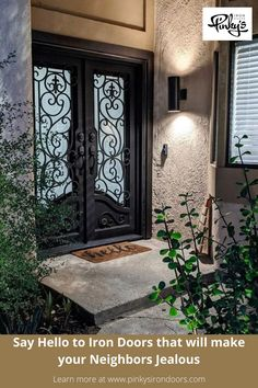 Iron doors are a great way to completely change the look of your home or business. Whether you need a set of exterior french iron doors for your patio, an elegant wrought iron front entry door to add some curb appeal, or even a set of modern iron doors to help make your commercial property pop by allowing more light into the space, Pinky's Iron Doors has you covered. #frontdoorideas #exteriordesign #modernhome #irondoordesign #irondoor #architecture #buildhomeidea Iron Front Door, Front Entry, Entry Doors, Door Design, Exterior Design, Steel Doors And Windows, Best Iron, Doors Online