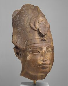 Quarztite head of Amenhotep III in the Blue Crown. New Kingdom. 18th dynasty. Reign of Amenhotep III, c. 1390-1352 B.C. | The Metropolitan Museum