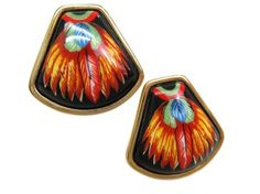 HERMES Enamel Clip Earrings Cloisonne/Palladium. Get the lowest price on HERMES Enamel Clip Earrings Cloisonne/Palladium and other fabulous designer clothing and accessories! Shop Tradesy now