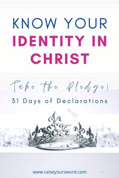 Know Your Identity In Christ. Take the pledge to confidently know your identity in Christ so that you can walk boldly in your faith! Free Printable of 31 Days of Declarations to Know Your True Identity in Christ. Christian Women, Christian Faith, Christian Living, Identity In Christ, True Identity, Jesus Quotes, Faith Quotes, Bible Quotes, Overcome The World