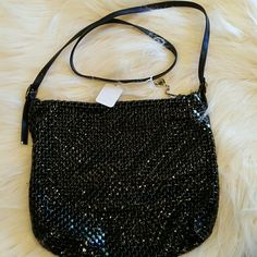 VINTAGE WHITING AND DAVIS BLACK CROSS BODY Has a leather strap. Perfect condition. 18 in strap. 11 x 10. Black mesh. Vintage Bags Crossbody Bags