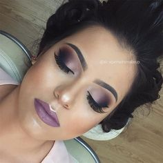 Beautiful purple inspired makeup look. smokey eyes with dramatic lashes and a subtle purple like with highlighted high points. Hd Makeup, Sexy Makeup, Prom Makeup, Love Makeup, Makeup Inspo, Eyeshadow Makeup, Bridal Makeup, Makeup Art, Wedding Makeup