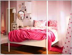 Dreamy pink ikea bedroom.