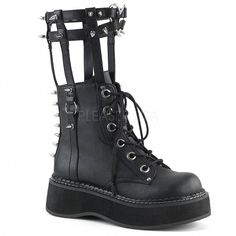 Spiked Platform Ankle Boots Lace Up Shoes Black Lace Up Ankle Boots, Leather Ankle Boots, Lace Up Shoes, High Heel Boots, Me Too Shoes, Shoe Boots, Calf Boots, Ankle Booties, Bootie Boots