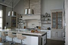 "ECLECTIC 1 - contemporary - kitchen - toronto - by Bellini Custom Cabinetry Ltd. brick ""chimney"" vent hood"