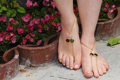 PRINCESS  Goldish barefoot sandal for elegant foots by HIPPYANNE, $20.00
