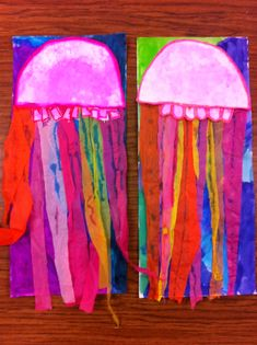 Drip, Drip, Splatter Splash: Bubbles and Jellyfish warm/cool color study. 3rd grade art project idea