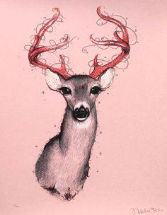 """""""Oh Deer"""" is a limited edition, hand pulled, five-color silkscreen print by Natalia Fabia. Each print is signed by Natalia. Prints are numbered, embossed and exclusive to PCP, validated by a Certificate of Authenticity. About """"Oh Deer. Deer Art, Moose Art, Gallery Frames, Oh Deer, Silk Screen Printing, Illustration Art, Art Prints, Drawings, Artsy Fartsy"""