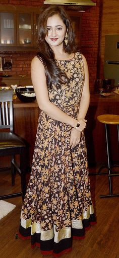 Rashami Desai Sandhu : Photos: 'Nach Baliye contestants at a promotional event Anarkali Dress, Pakistani Dresses, Indian Dresses, Indian Outfits, Indian Attire, Indian Wear, Western Dresses, Indian Celebrities, Indian Designer Wear