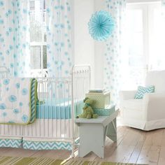 Aqua Dandelion | Carousel Designs >> You can build your own bedding on here, pretty neat!