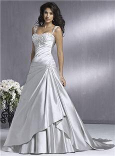Wunderschöne elastische Gewebe Satin A-line/Princess Schatz bodenlangen Kapelle Brautkleider