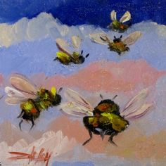 Five Bees, painting by artist Delilah Smith