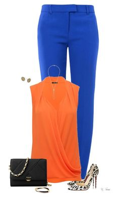"""""""Blue Trousers"""" by ksims-1 ❤ liked on Polyvore featuring Boutique Moschino, M&Co, Christian Louboutin and Michael Kors"""