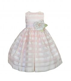 Beautiful hand-crafted striped organza dress, designed by Susanne Lively. Light pink and white striped formal dress features a wide organza waist sash with a white, pink and green accent flower.