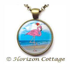 Tropical Christmas Santa Pink Flamingo at the by HorizonCottage