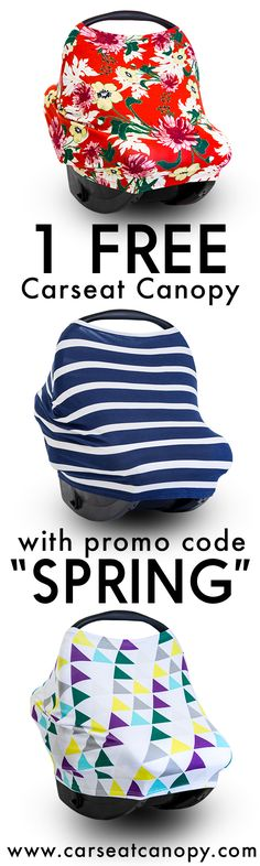 "PINNER'S SPECIAL! Enjoy 1 FREE Carseat Canopy or $50 OFF site-wide with promo code ""SPRING"" at www.carseatcanopy.com! Just pay shipping! Make motherhood functional yet fashionable with Mother's Lounge."