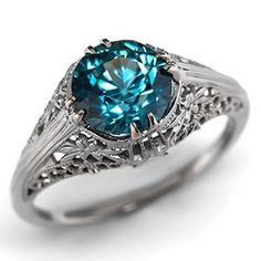 Antique Blue Zircon Engagement Ring w/ 18K White Gold Filigree ...the blue of the stone-sooo beautiful
