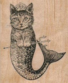 cat mermaid  rubber stamps  wood mounted 17863 by pinkflamingo61, $11.00