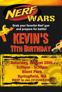 Custom Nerf Birthday Invitation Digital File