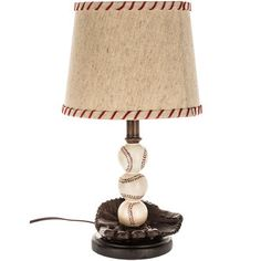 Baseball Resin Lamp With Beige Linen Shade