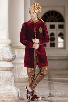 Mangaldeep Red And Golden Velvet Embroidered Sherwani