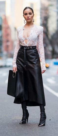 Belted black leather maxi skirt