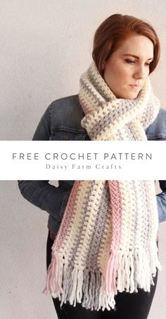 Free Crochet Pattern - Pink and Gray Striped Scarf