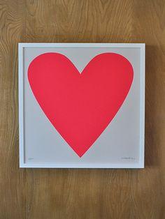 Neon Pink Heart Print op Etsy, 37,47€