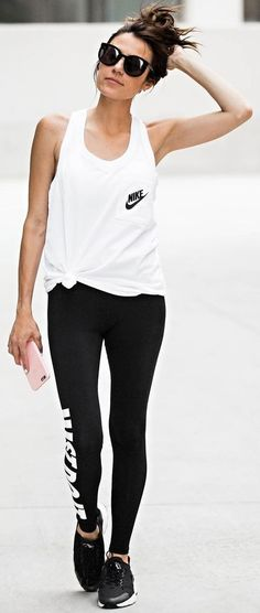 #summer #classy #outfits | Black and White Work Out Look