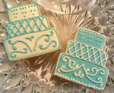 One Dozen Tiffany White and Blue Decorated Sugar by AlisSweetTooth, $29.00