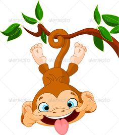 Monkey Hanging Cute baby monkey hamming on a tree. Perfect for April Fools' Day. EPS JPG (high resolution) Created: GraphicsFilesIncluded: JPGImage Layered: No MinimumAdobeCSVersion: CS Tags: animal Cute Baby Monkey, Monkey Pictures, Cartoon Monkey, Baby Tattoos, Owl Art, Painting For Kids, Illustration, Cute Babies, Cute Animals