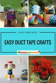 Wondering what to make with duct tape? We gathered our favorite 90 Easy Duct Tape Crafts for Kids in this collection! Duct Tape Projects, Duck Tape Crafts, Craft Ale, Duct Tape Flowers, Crafts For Kids To Make, Kids Crafts, Art Activities For Kids, Bible For Kids, What To Make