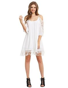 Golf Outfit S Women Milumia Women's Summer Cold Shoulder Crochet Lace Sleeve Loose Beach Dress White Dress Summer, Summer Dresses, Cheap Dresses, Women's Dresses, Dresses Online, Wedding Dresses, 1920s Fashion Women, Casual Dresses For Women, Clothes For Women