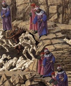 Sandro Botticelli, Inferno, (detail), Staatliche Museen, Berlin We see Dante with Virgil, his guide, in the eighth circle. Dante is shown in red and Virgil in blue.