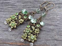 Fairy Garden-Handmade Earrings-Antiqued Brass -Green Crystals-Green Enamel-Renaissance-Romance by JoeisStuff on Etsy