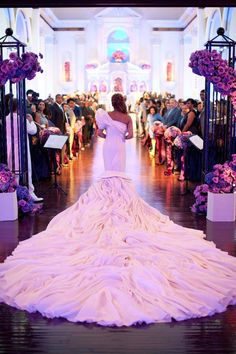beautiful train & remember to tell photographers to take a photo before you walk Dream wedding gown train foot long Perfect Wedding, Dream Wedding, Wedding Day, Church Wedding, Purple Wedding, Wedding Entrance, Wedding Ceremony, Wedding Bride, Wedding Simple
