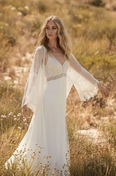 Rembo styling — 2018 Collection — Graal: Beautiful dress with higher waist and thin shoulderstraps. A very sophisticated split in the skirt. Western Wedding Dresses, Boho Wedding Dress, Bridal Dresses, Wedding Gowns, Rembo Styling, Wedding Dress Cinderella, Princess Wedding, Bridal Collection, Dress Collection